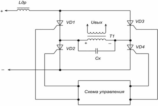 Далее схема управления инвертором открывает сначала тиристоры VD1 и VD4.